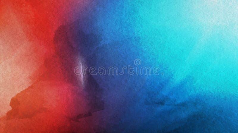 Красная и голубая текстура предпосылки Watercolour иллюстрация вектора