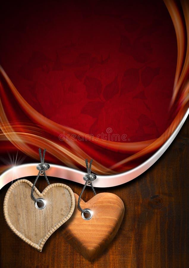 Красная и деревянная романтичная предпосылка бесплатная иллюстрация