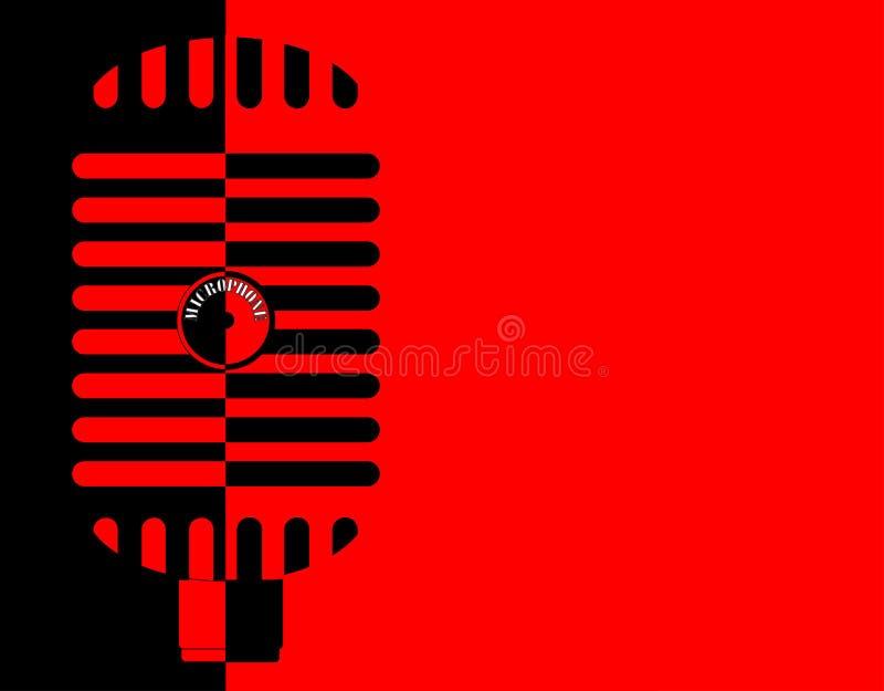 Красная и черная классическая предпосылка микрофона иллюстрация штока