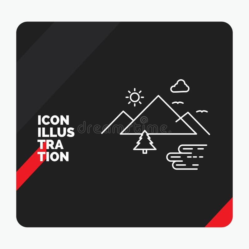 Красная и черная творческая предпосылка для гор, природа представления, на открытом воздухе, облака, линия значок Солнца бесплатная иллюстрация