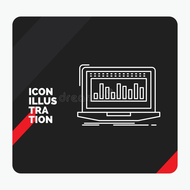 Красная и черная творческая предпосылка для данных, финансовая, индекс представления, контроль, значок ассортимента запасов иллюстрация вектора