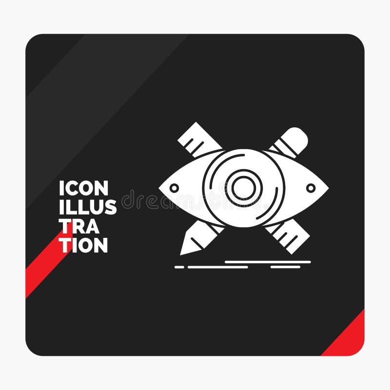 Красная и черная творческая предпосылка для дизайна, дизайнер представления, иллюстрация, эскиз, значок глифа инструментов иллюстрация штока