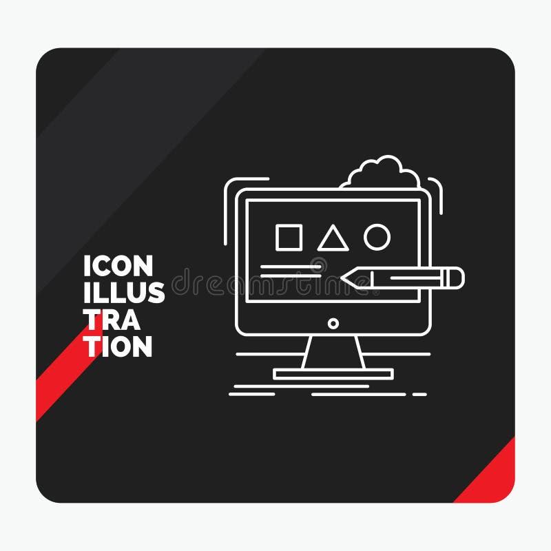 Красная и черная творческая предпосылка для искусства, компьютер представления, дизайн, цифровой, линия значок студии бесплатная иллюстрация