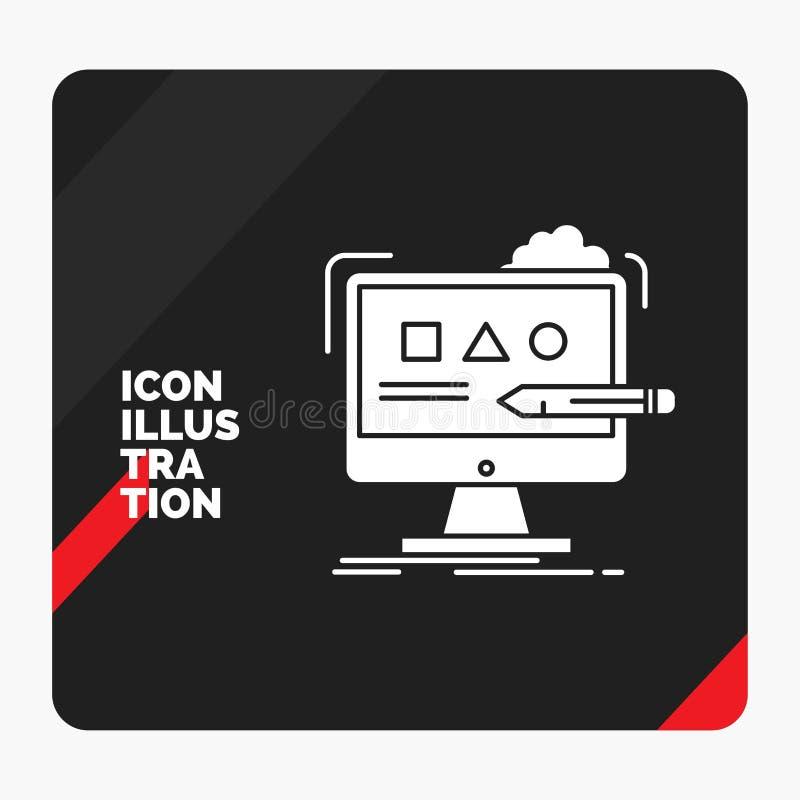 Красная и черная творческая предпосылка для искусства, компьютер представления, дизайн, цифровой, значок глифа студии иллюстрация вектора