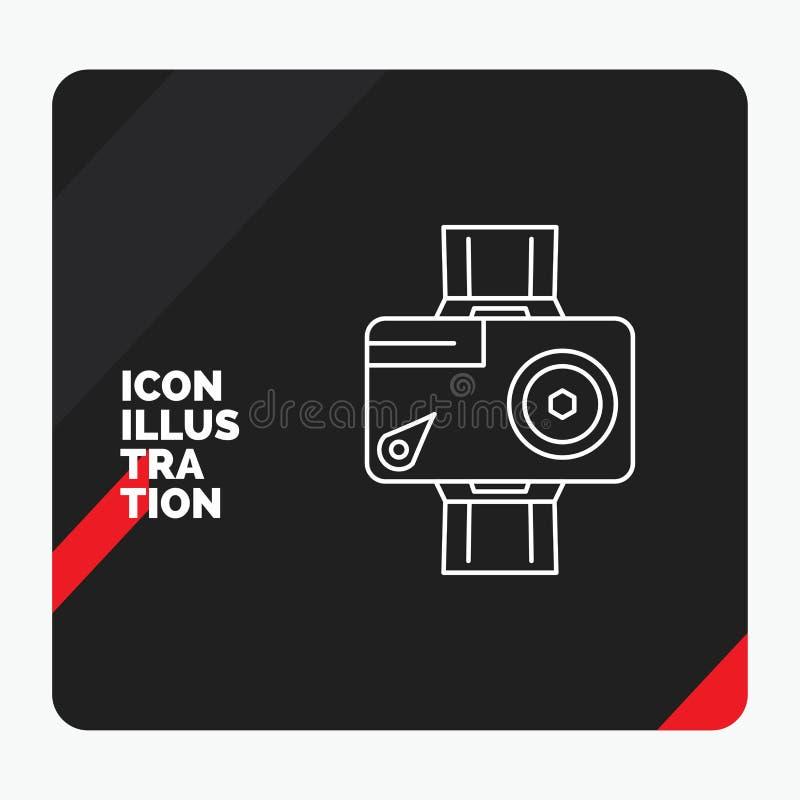Красная и черная творческая предпосылка для камеры, действие представления, цифровой, видео-, линия значок фото иллюстрация штока