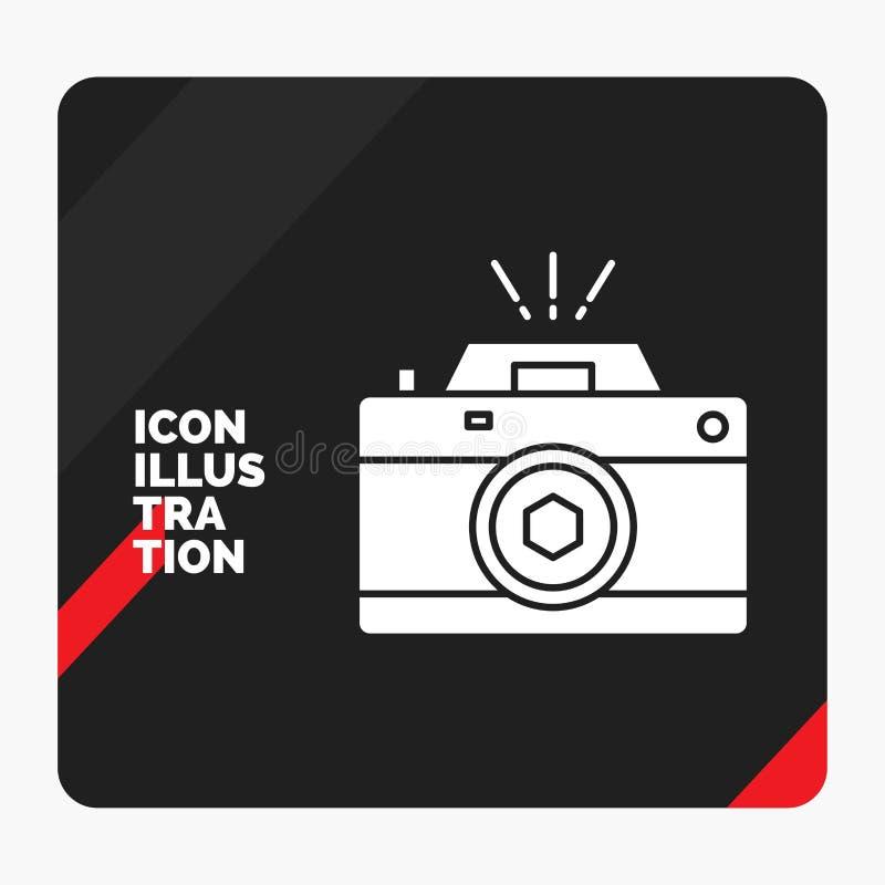 Красная и черная творческая предпосылка для камеры, фотография представления, захват, фото, значок глифа апертуры иллюстрация штока
