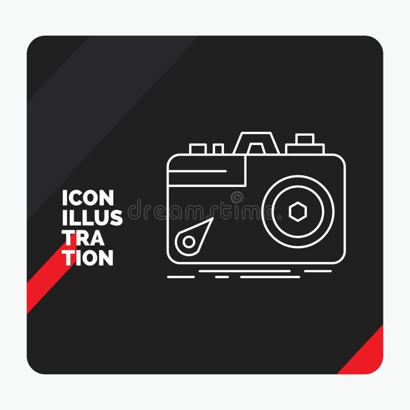Красная и черная творческая предпосылка для камеры, фотография представления, захват, фото, линия значок апертуры иллюстрация вектора