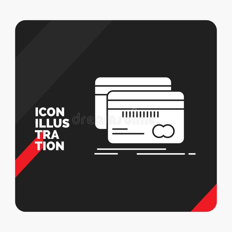 Красная и черная творческая предпосылка для кренить, карта представления, кредит, дебит, значок глифа финансов иллюстрация штока