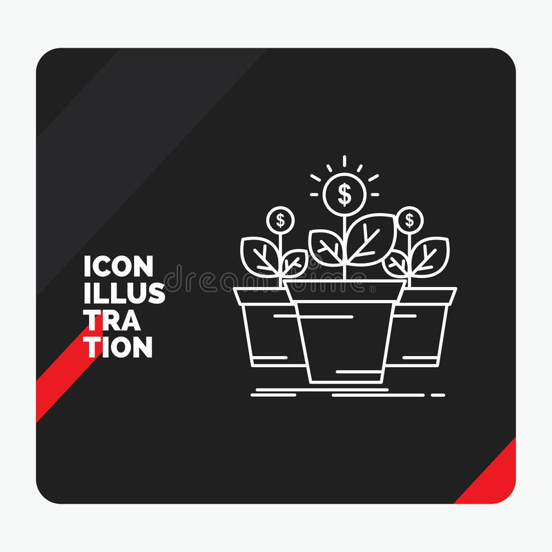 Красная и черная творческая предпосылка для роста, деньги представления, завод, бак, значок линии деревьев иллюстрация штока