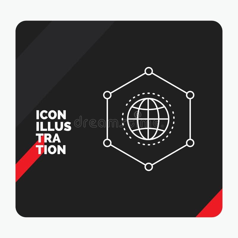 Красная и черная творческая предпосылка для сети, глобальная, данные представления, соединение, значок бизнес-линии иллюстрация штока