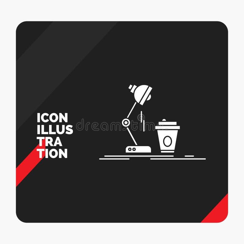 Красная и черная творческая предпосылка для студии, дизайн представления, кофе, лампа, внезапный значок глифа иллюстрация штока