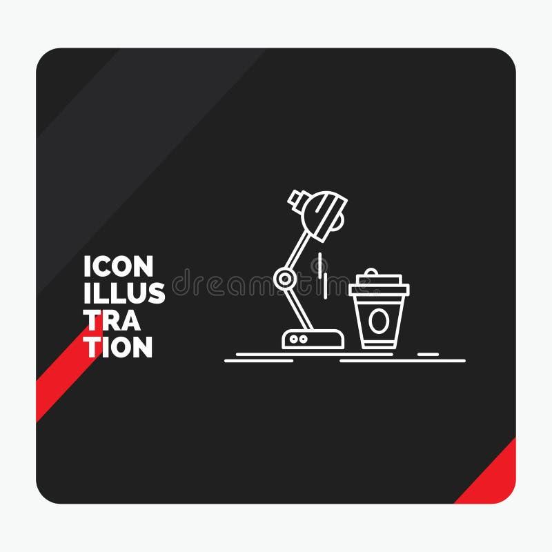 Красная и черная творческая предпосылка для студии, дизайн представления, кофе, лампа, значок линии вспышки иллюстрация штока