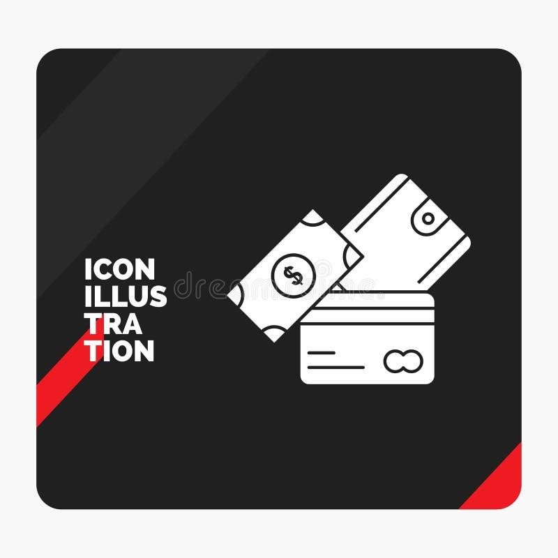 Красная и черная творческая предпосылка представления для кредитной карточки, денег, валюты, доллара, значка глифа бумажника бесплатная иллюстрация