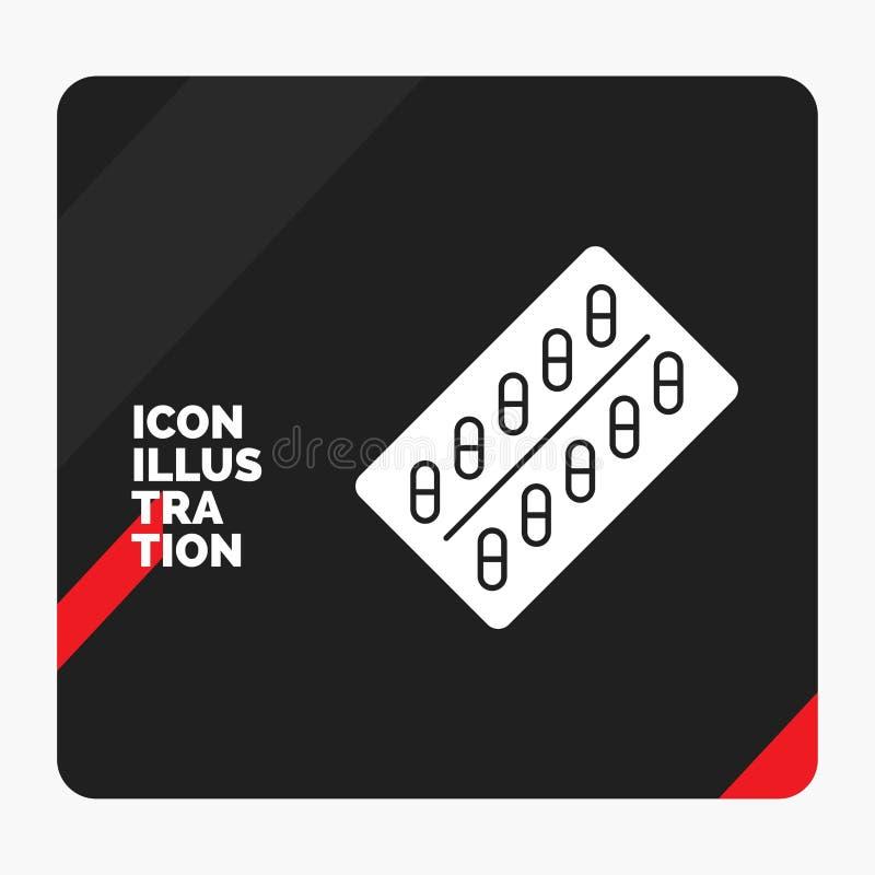 Красная и черная творческая предпосылка представления для медицины, таблетки, лекарств, планшета, значка глифа пакета иллюстрация вектора