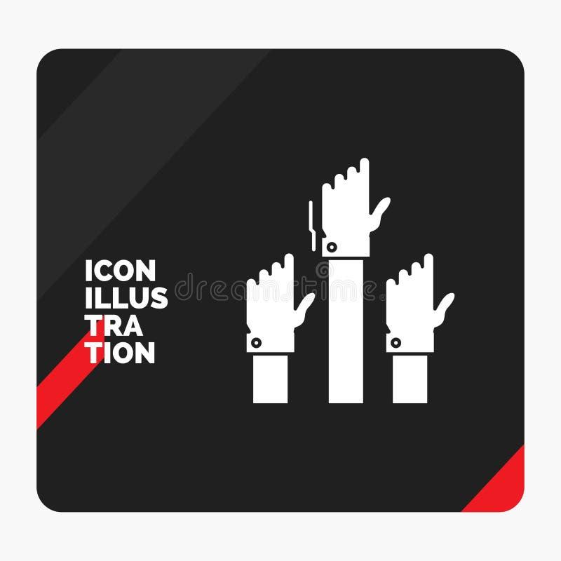 Красная и черная творческая предпосылка представления для устремленности, дела, желания, работника, умышленного значка глифа иллюстрация вектора