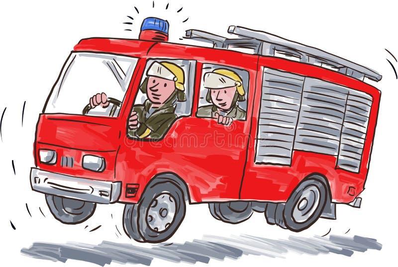Красная карикатура пожарного пожарной машины иллюстрация вектора