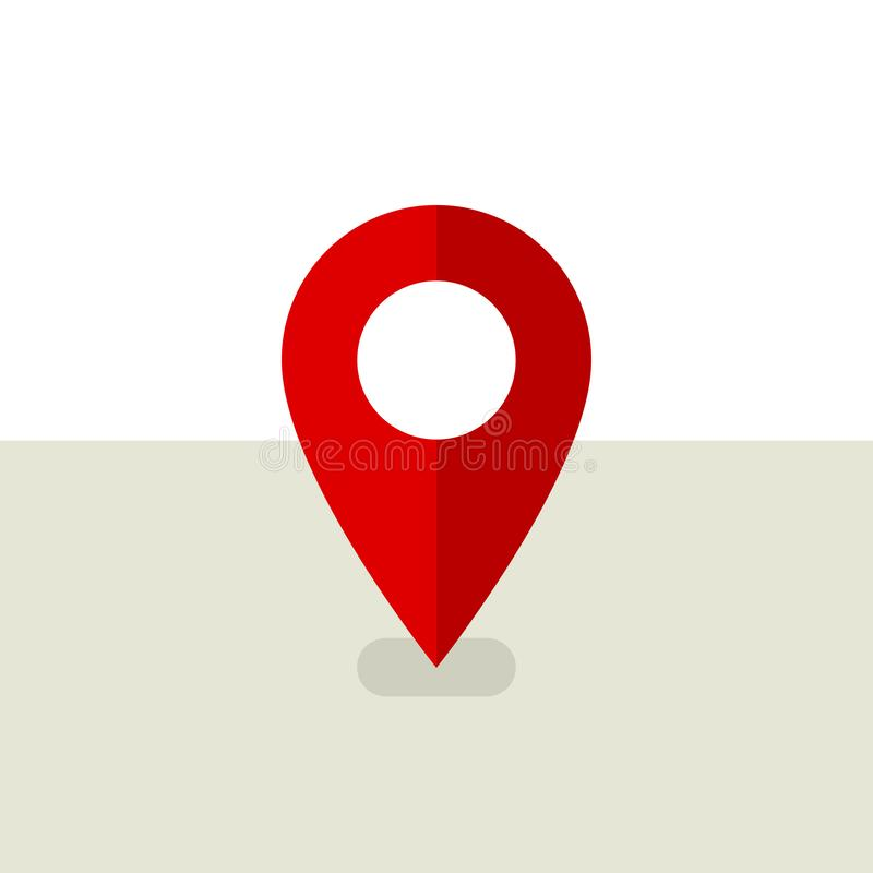 Красная карта штыря Значок Pin положения в плоском дизайне Икона положения знак штыря карты бесплатная иллюстрация