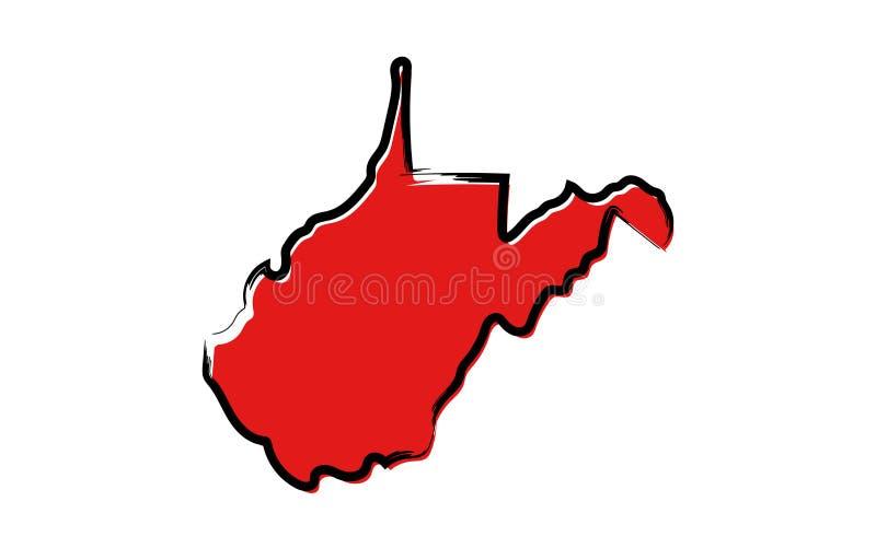 Красная карта эскиза Западной Вирджинии иллюстрация вектора