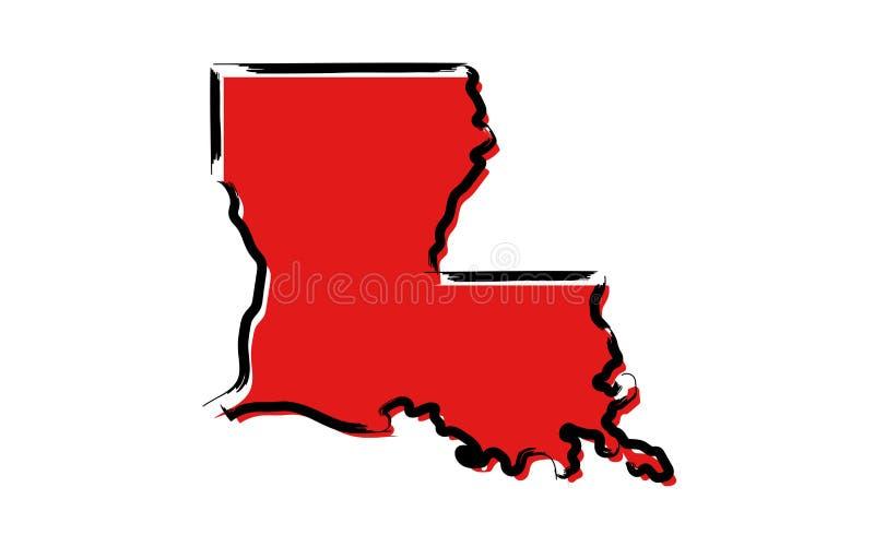 Красная карта эскиза Луизианы иллюстрация вектора
