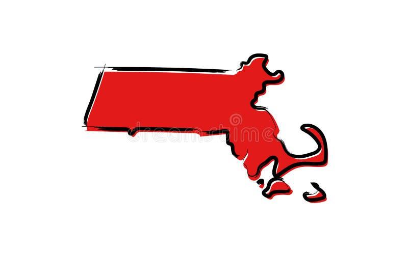 Красная карта эскиза Массачусетса бесплатная иллюстрация
