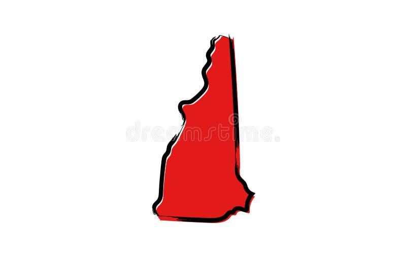 Красная карта эскиза Нью-Гэмпшир иллюстрация вектора