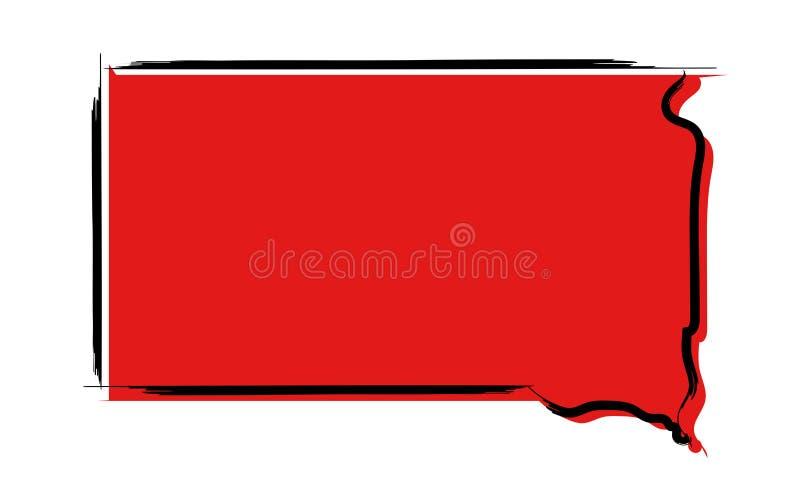 Красная карта эскиза Южной Дакоты иллюстрация вектора