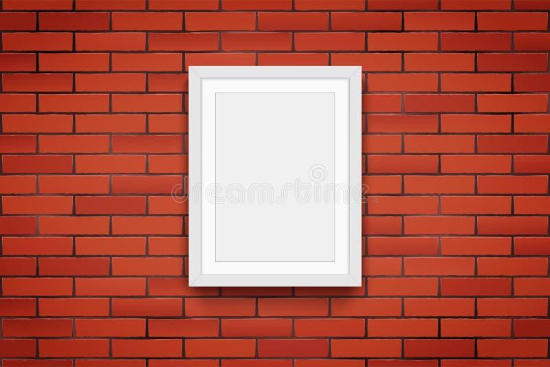 Красная кирпичная стена с картинной рамкой иллюстрация вектора