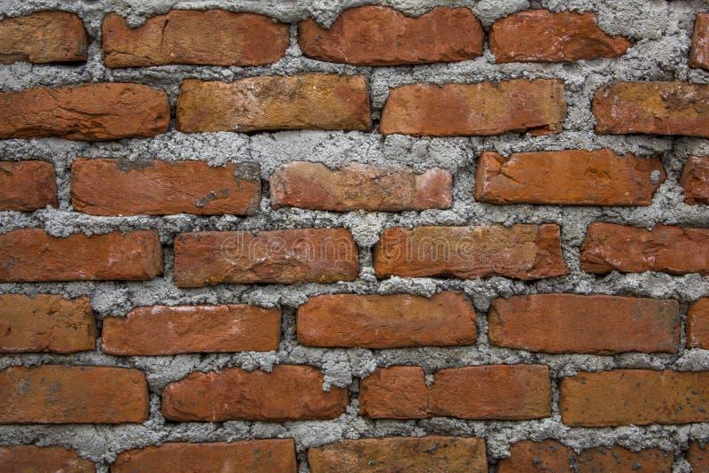 Красная кирпичная стена с толстыми слоями светлого цемента Грубая поверхность стены пятна грязи на кирпичной стене стоковое изображение rf