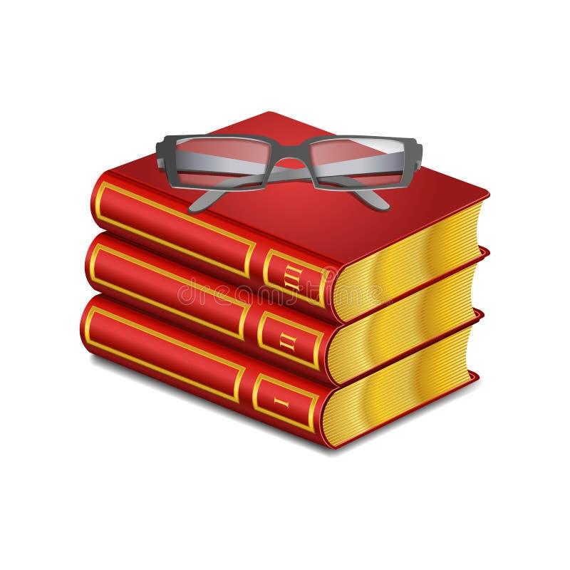 Красная книга вектора с стеклами иллюстрация вектора
