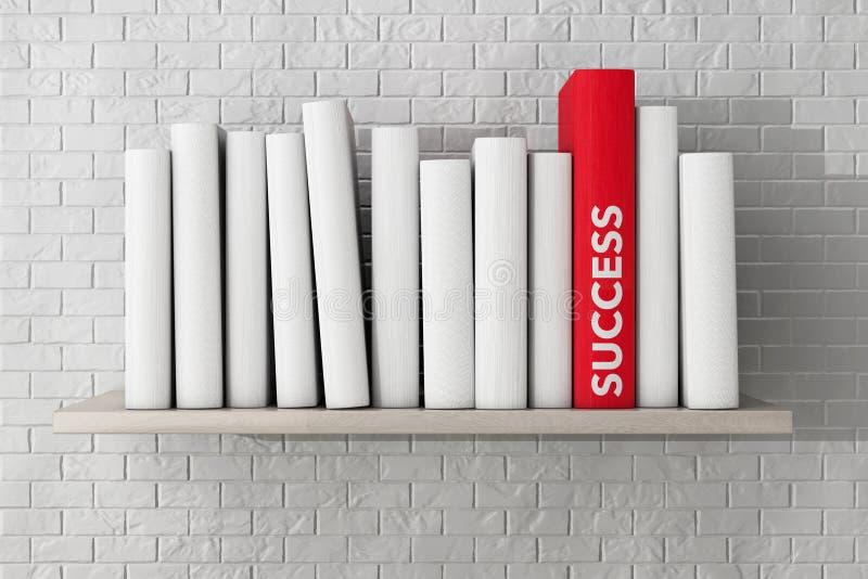 Красная книга успеха на полке с другими пустыми книгами стоковая фотография rf