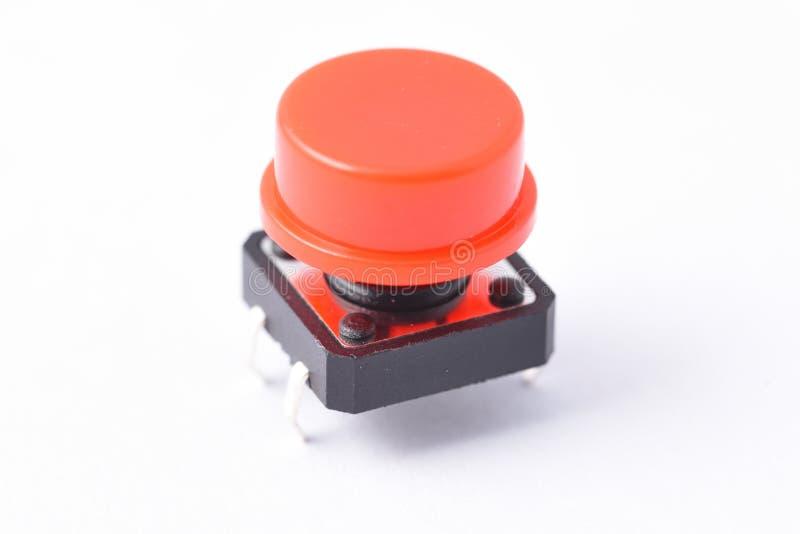 Красная кнопка, компонент к припою стоковое фото rf