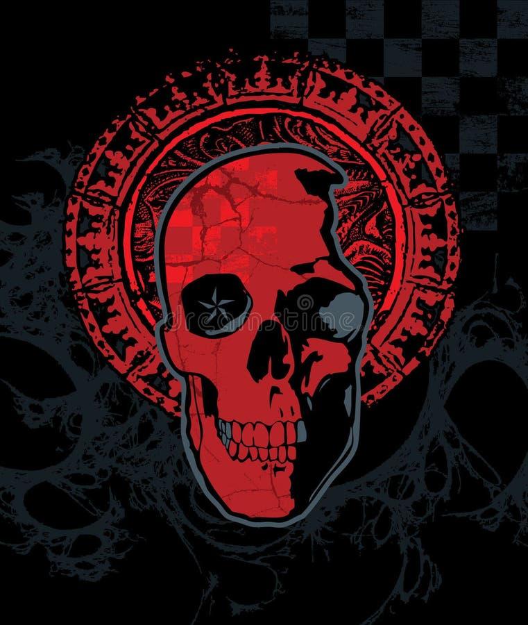 Красный череп контролера с венчиком иллюстрация вектора