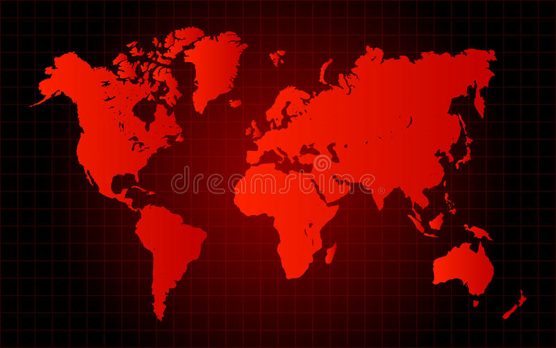 Красная концепция опасности карты мира иллюстрация штока