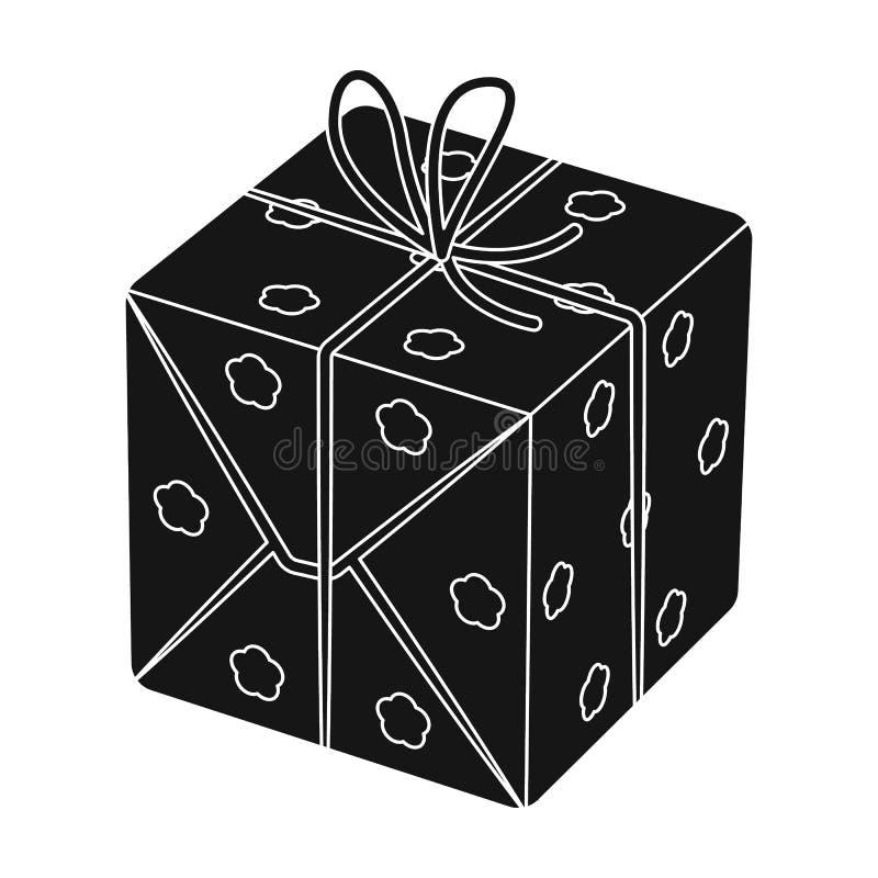 Красная коробка в белых горохах Обернутый в веревочке с смычком Подарки и сертификаты определяют значок в черном символе вектора  иллюстрация штока