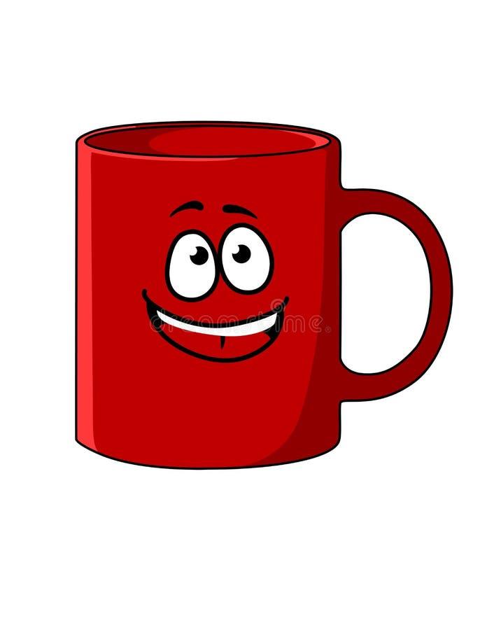 Красная кружка кофе шаржа с счастливой стороной иллюстрация штока
