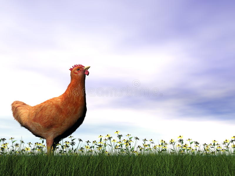 Красная курица - 3D представляют иллюстрация вектора