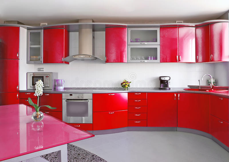 Красная кухня стоковые изображения