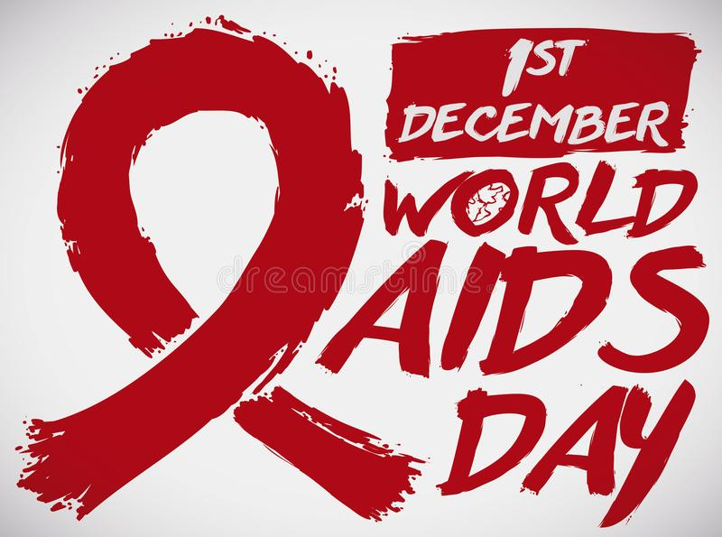 Красная лента в стиле Brushstroke для торжества Международного дня СПИДА, иллюстрации вектора иллюстрация штока