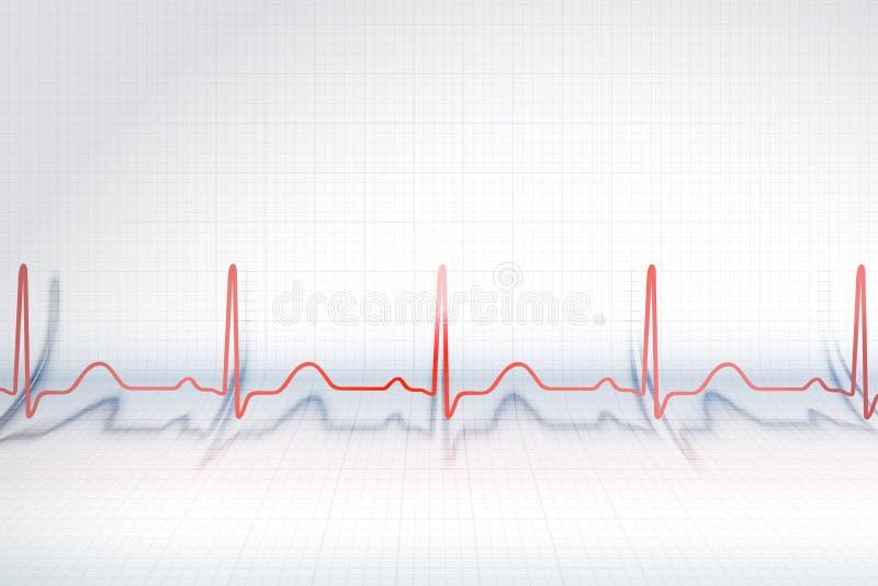 Красная линия диаграммы ECG стоковые изображения