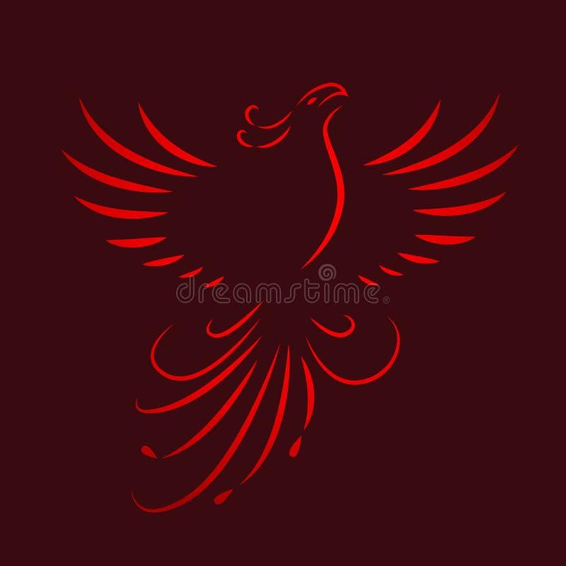 Красная линия чертеж крылов Феникса поднимая иллюстрация вектора
