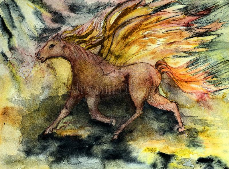 Красная лошадь с крылами в штормовой погоде иллюстрация штока