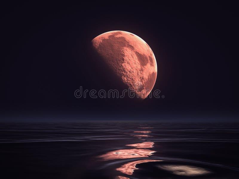 красная луна поднимая над океаном иллюстрация вектора