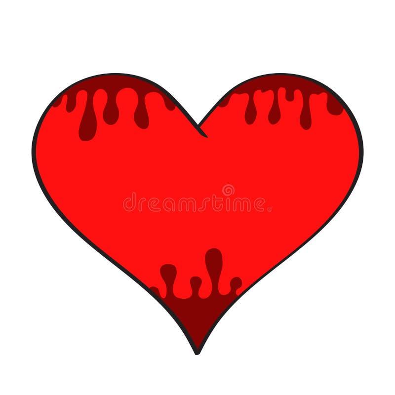 Красная любовь символа сердца мультфильма с падениями темной крови на белизне, st бесплатная иллюстрация