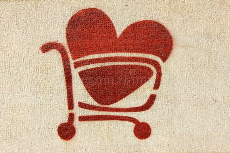Красная магазинная тележкаа сердца стоковые изображения rf
