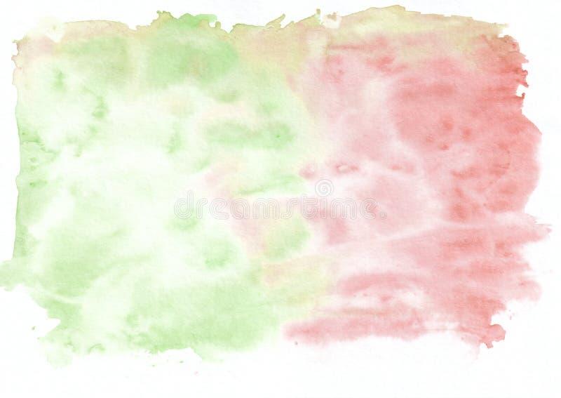Красная малиновая и зеленая смешанная абстрактная предпосылка акварели Оно ` s полезное для поздравительных открыток, валентинок, иллюстрация вектора