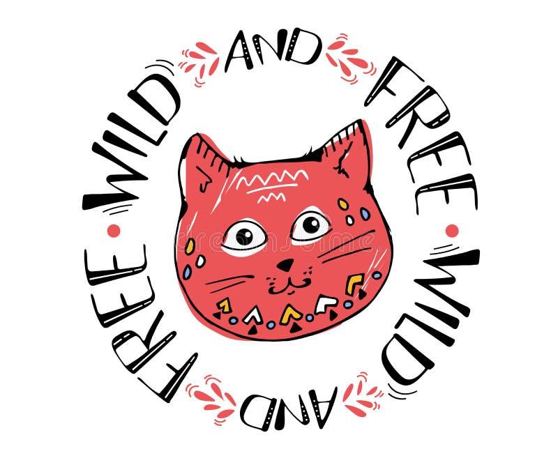 Красная милая иллюстрация вектора эскиза кота, кот дизайна печати, дети печатает на девушке футболки кот руки вычерченный с кругл иллюстрация вектора