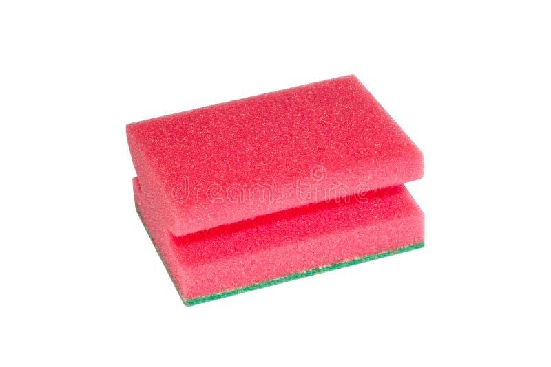 Красная мягкая губка для моя изолированных блюд стоковое изображение rf