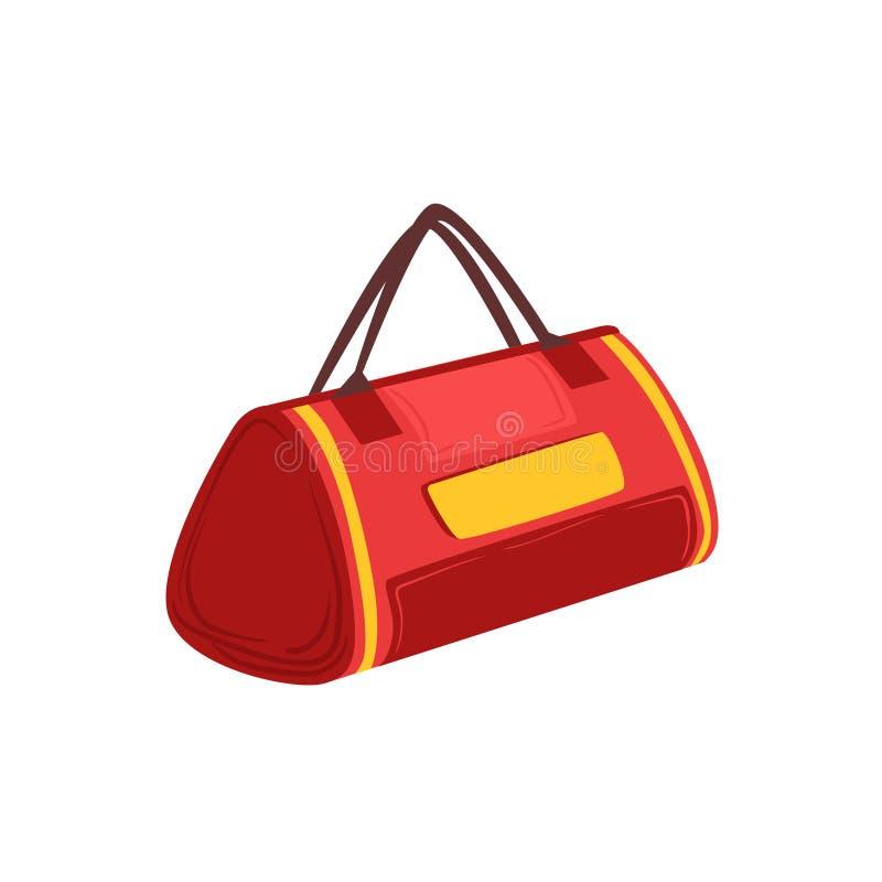 Красная мягкая Sportive сумка с двойником регулирует деталь от собрания шаржа сумки багажа аксессуаров иллюстрация вектора