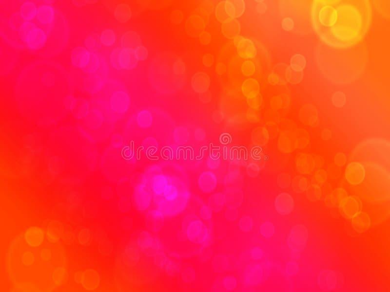 Красная оранжевая и желтая предпосылка bokeh пузыря иллюстрация вектора