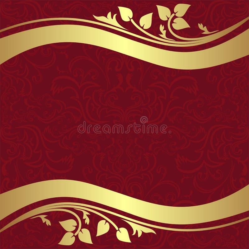 Красная орнаментальная предпосылка с золотыми флористическими границами иллюстрация вектора